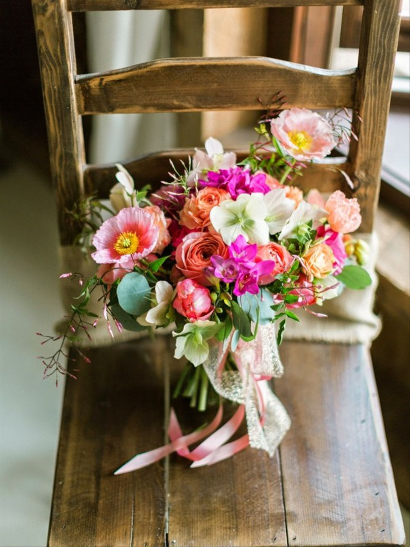 colorful farmers market summer wedding bouquet