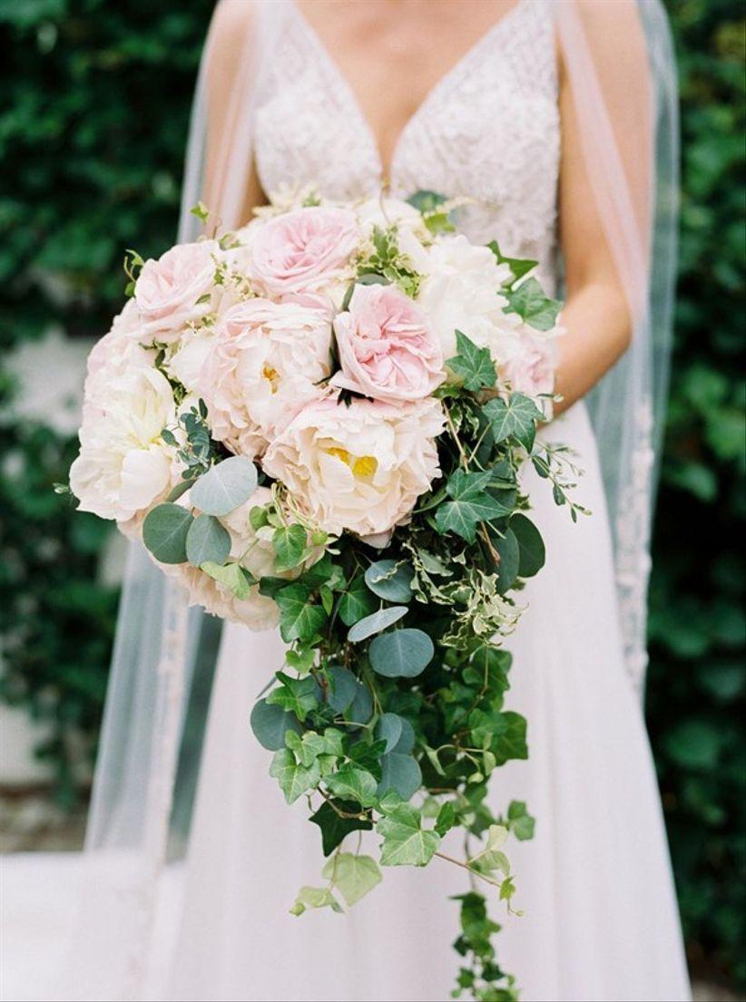 garden wedding bouquet with english ivy
