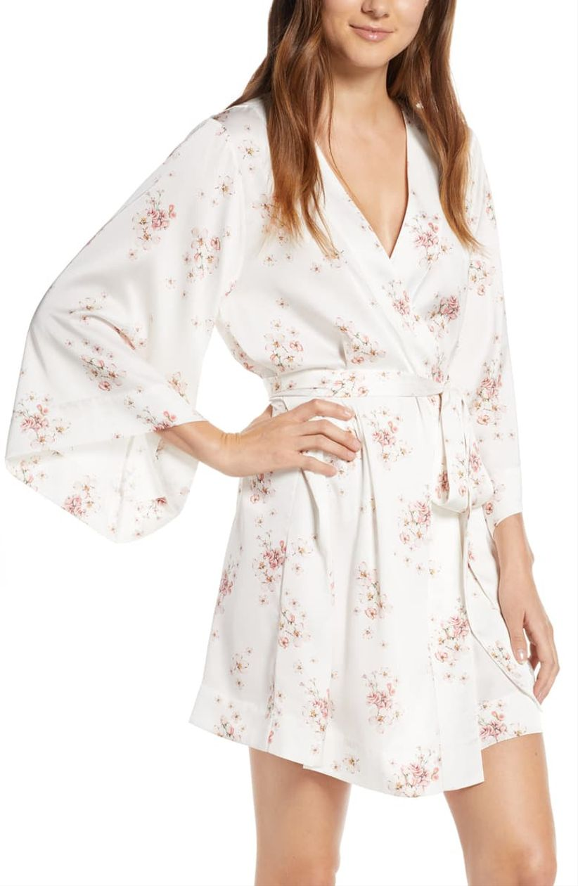 white pink floral robe