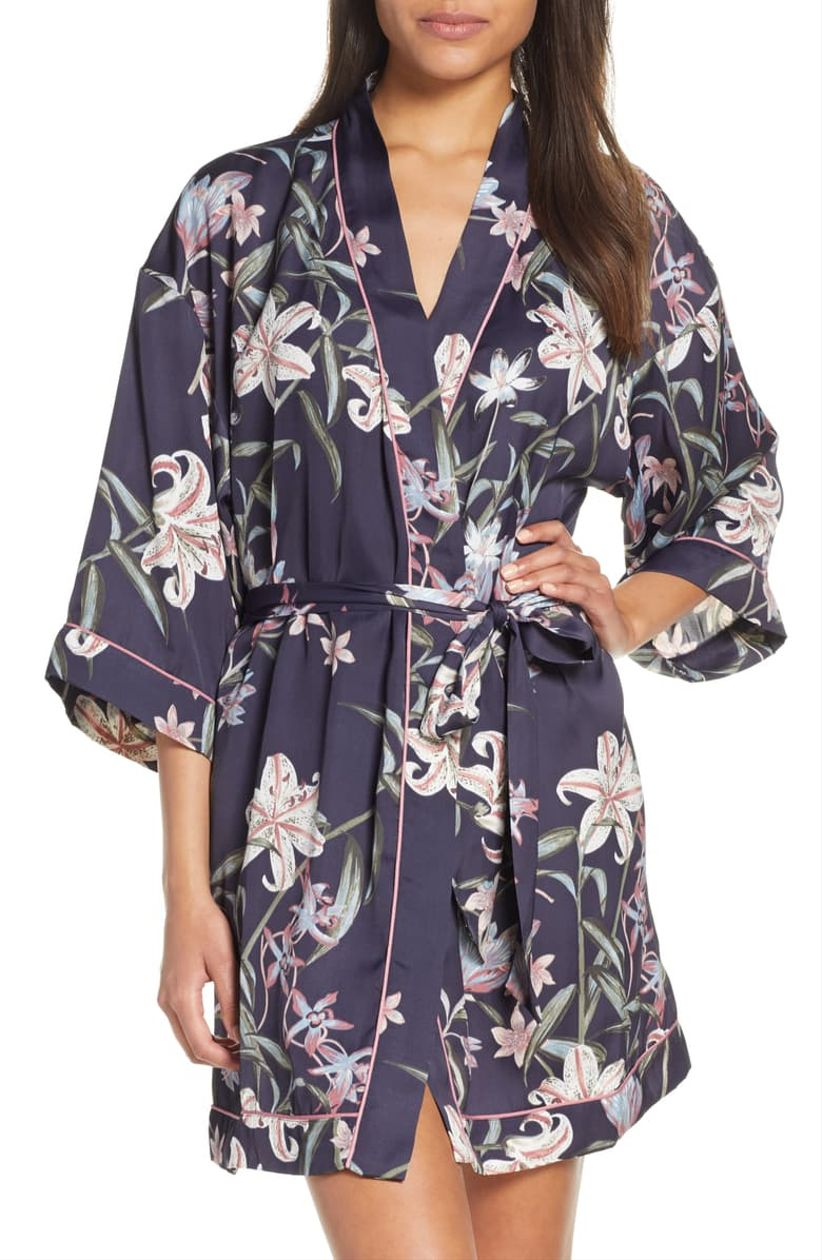 navy floral robe
