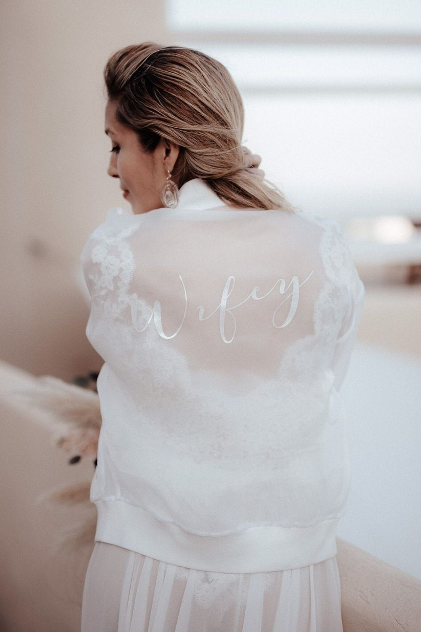 sheer white organza bomber jacket with
