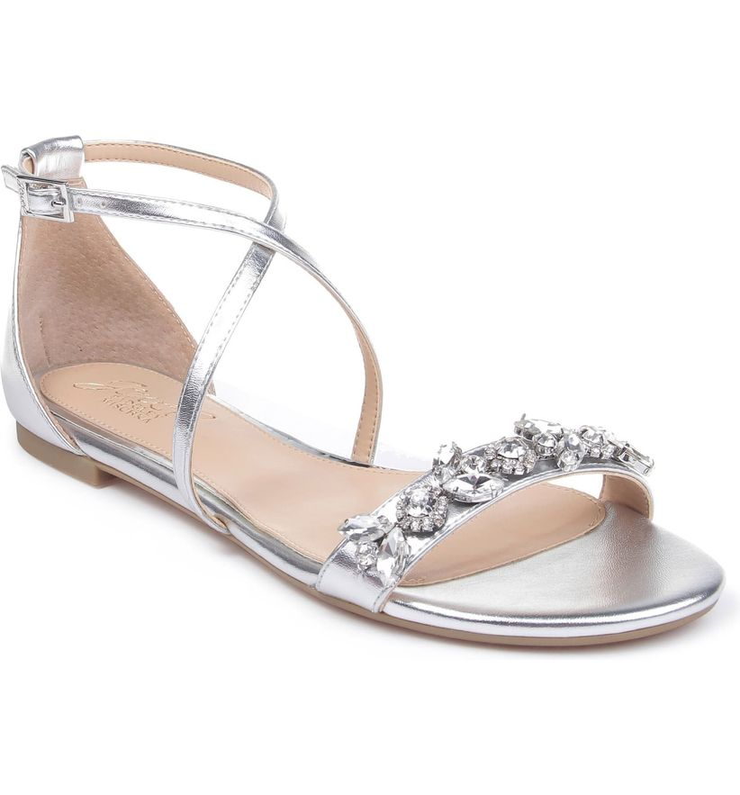 flat silver sandal with x-strap and beaded strap across toes