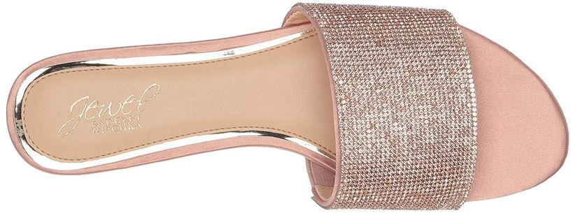 flat rose gold slide-on sandal with silver rhinestone strap