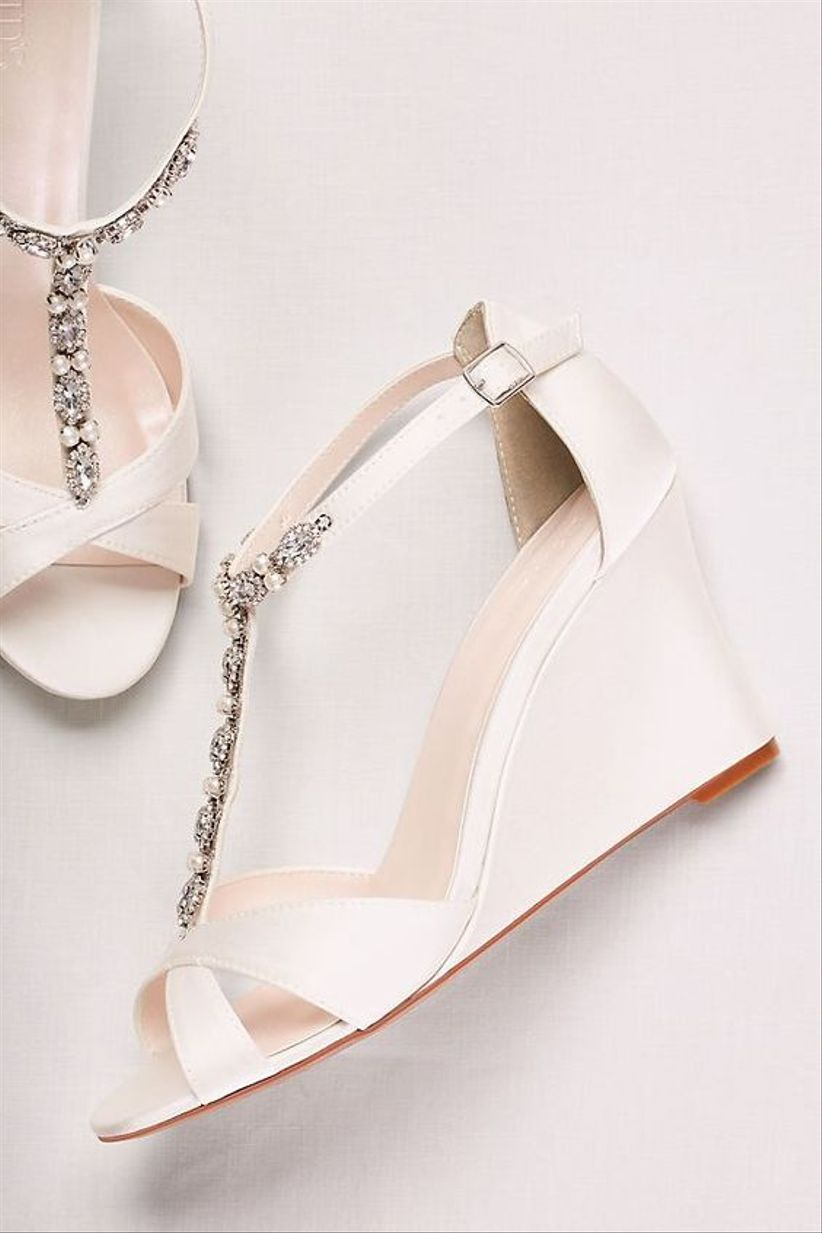 white open toe wedge heels with t-strap front featuring silver and pearl beading