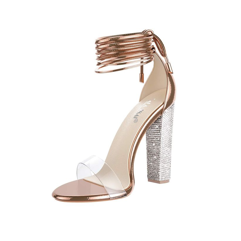 glamorous open toe shoe with rhinestone high heel, rose gold laces at ankle and clear toe strap