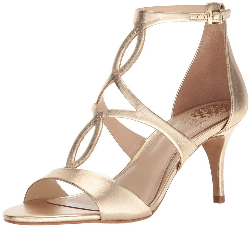 gold stiletto sandal with modified t-strap featuring oval cutouts