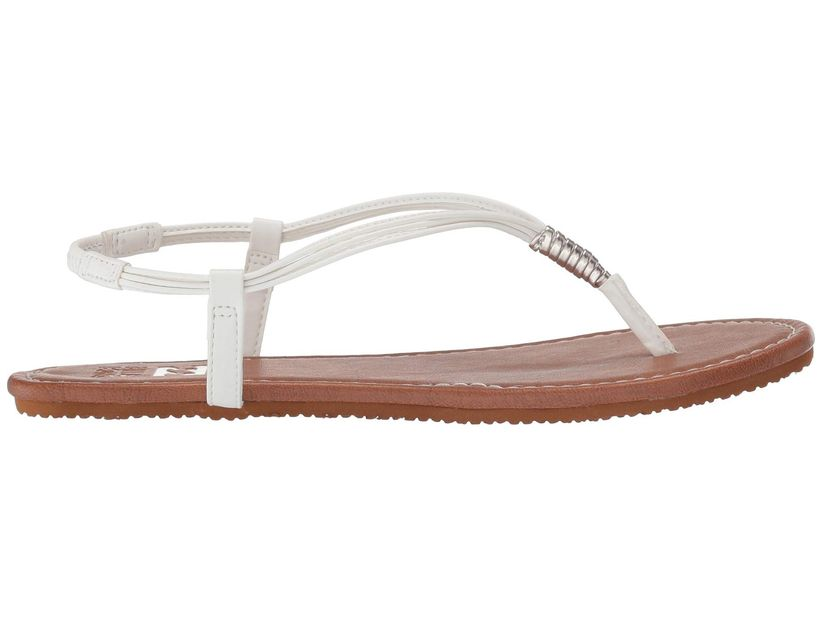 side view of flat thong sandal with white strap against white backdrop