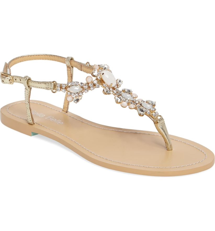 flat tan thong sandal with pearl and silver beading on strap