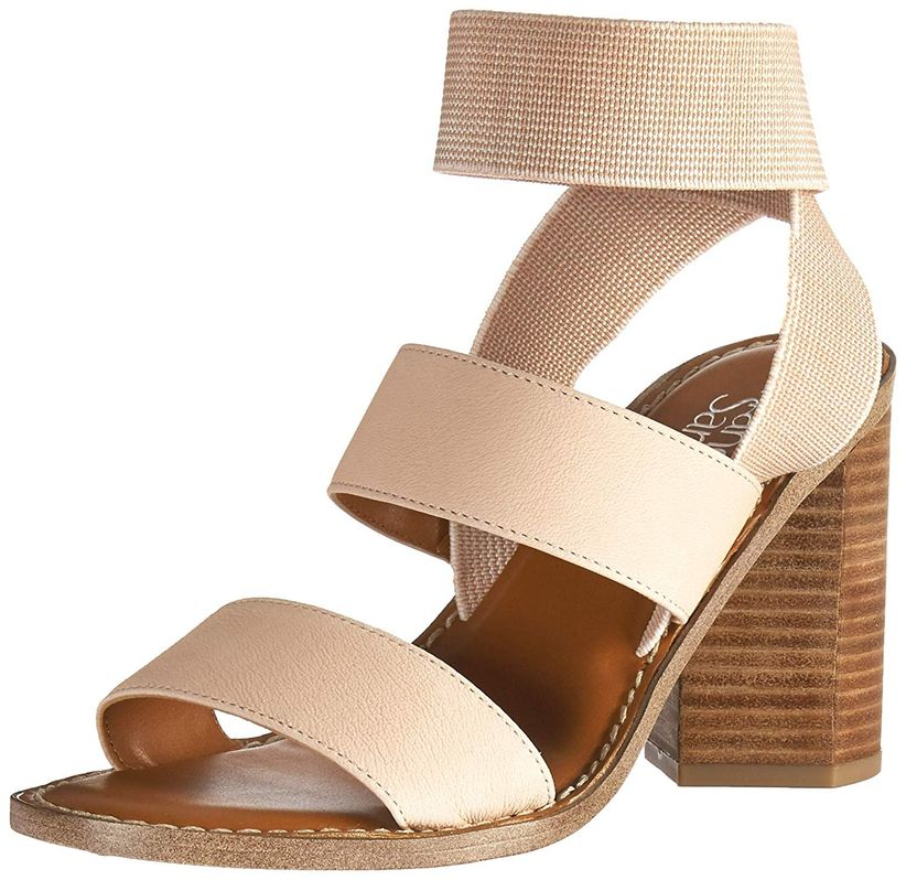tan and brown block heel sandal with elastic ankle strap against white background