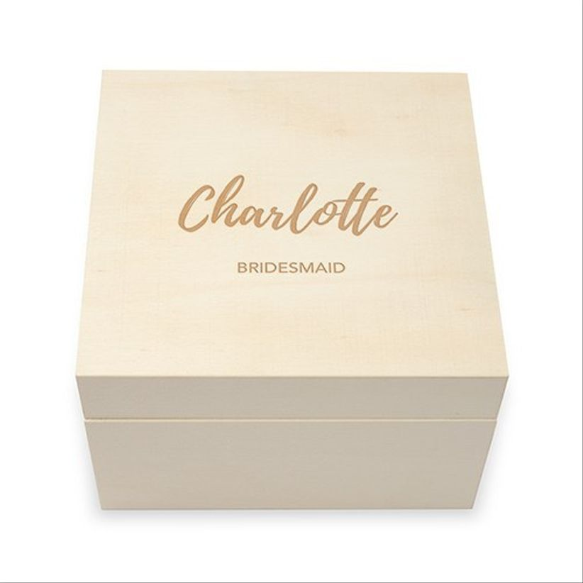 top view of wooden bridesmaid box featuring custom engraving that reads