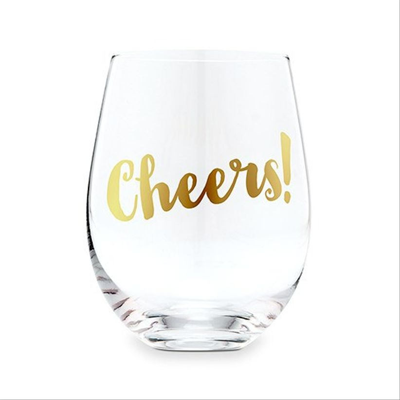 stemless wine glass decorated with