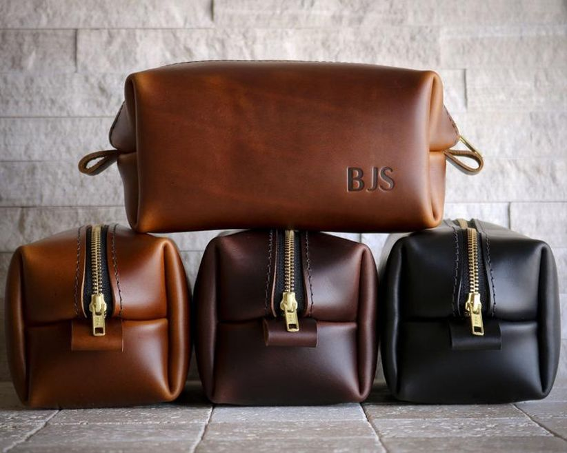 10 year anniversary gift leather dopp kit with initials