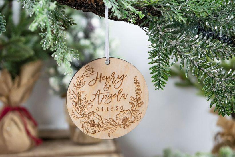rustic wood wedding christmas ornament