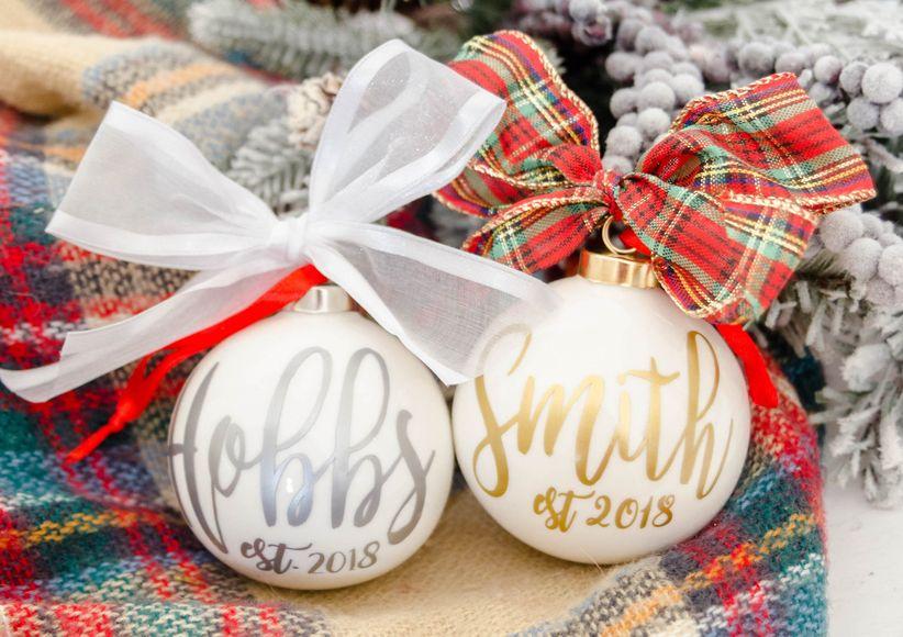 classic wedding christmas ornament