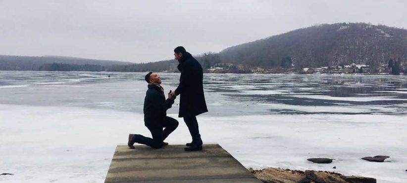 winter proposal with frozen lake backdrop