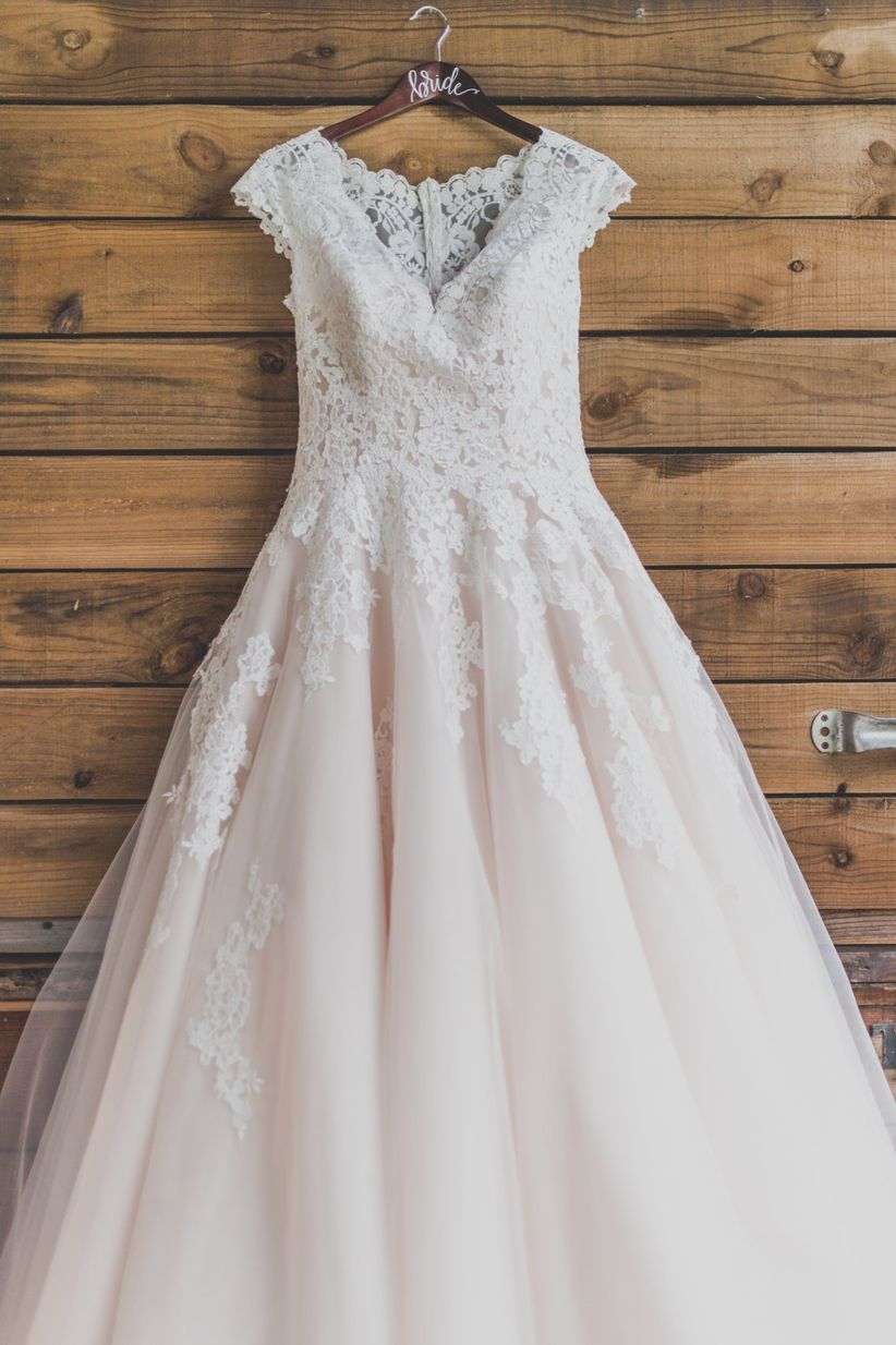 blush wedding ball gown