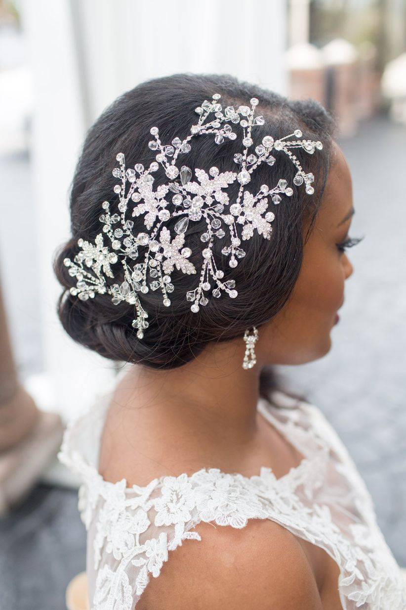 bride with beaded floral hair clip