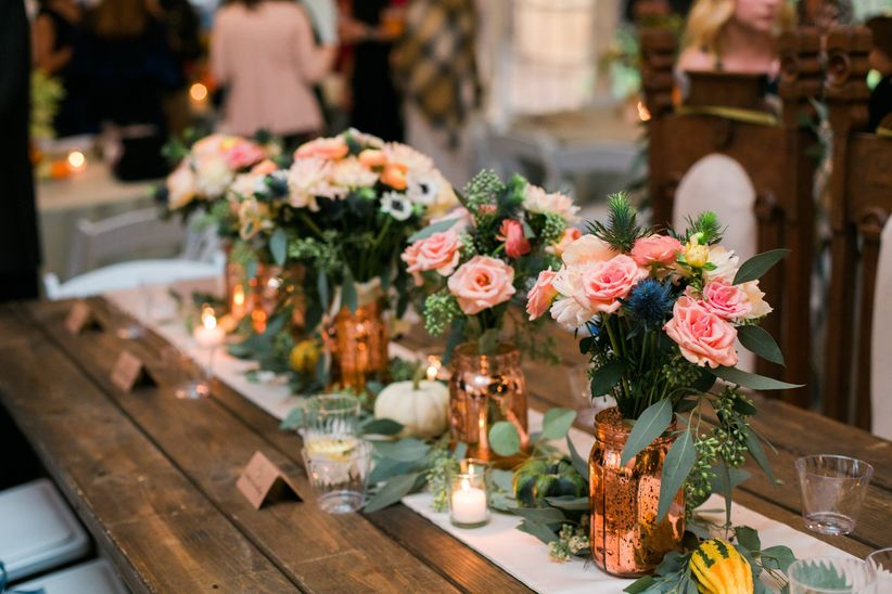 rose gold mason jar centerpieces