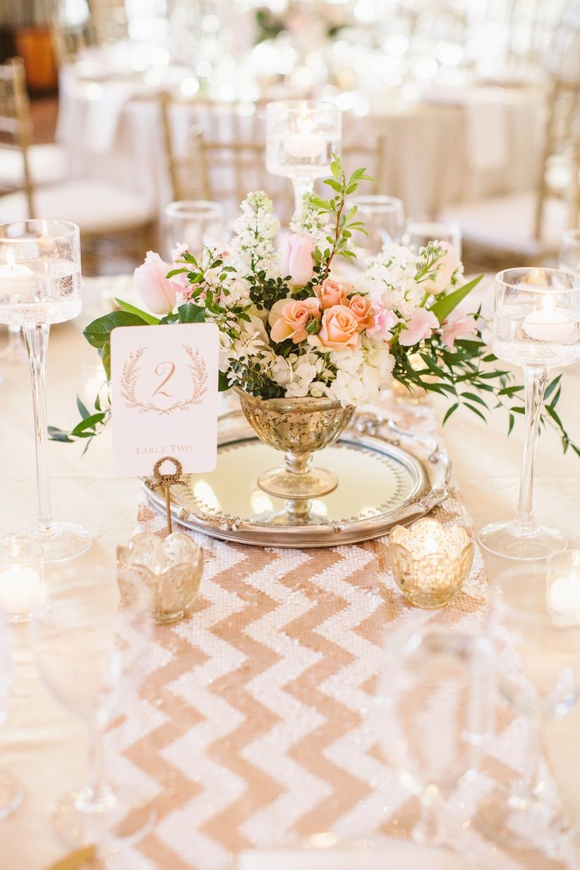 rose gold table runner chevron
