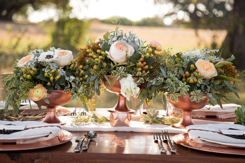 rose gold centerpiece ideas