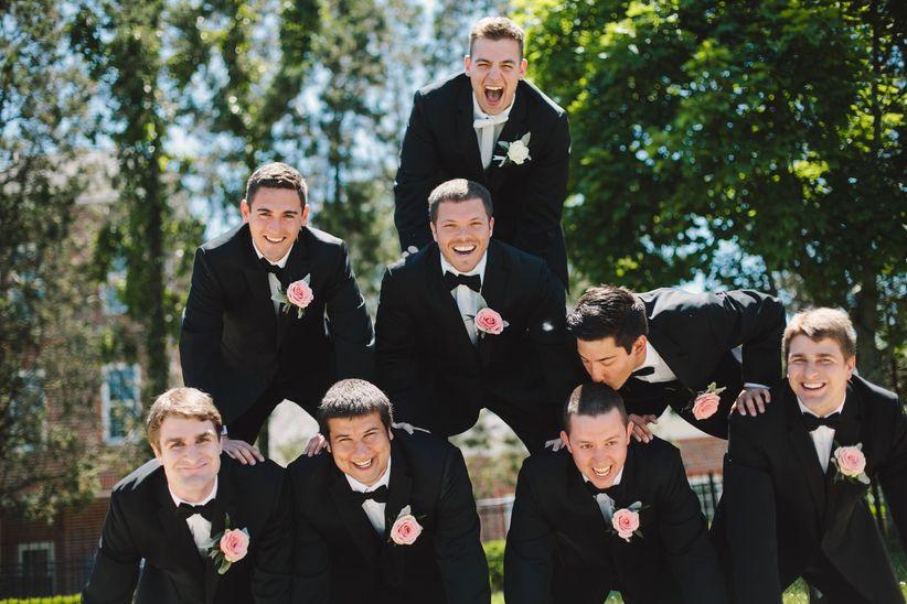 groomsmen pyramid -jennifer van elk photography
