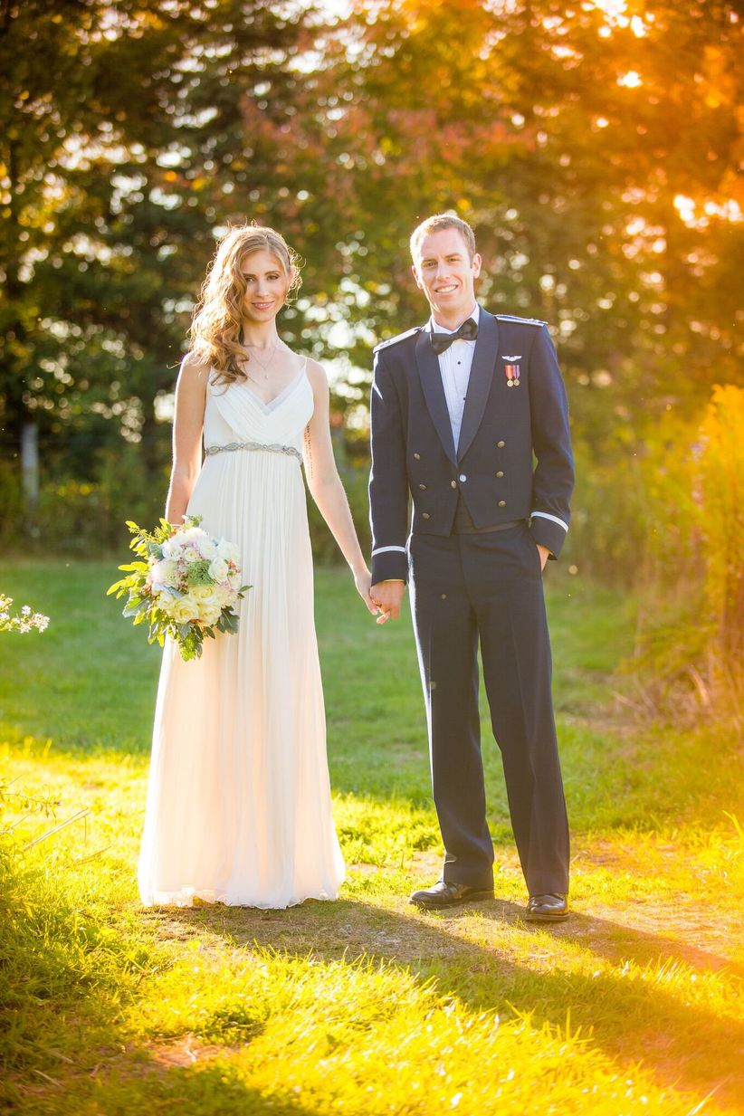 formal bride and groom outdoor wedding