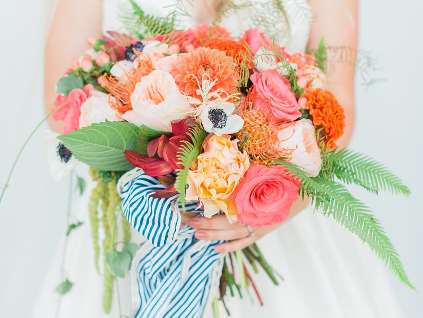 bright coral summer bouquet