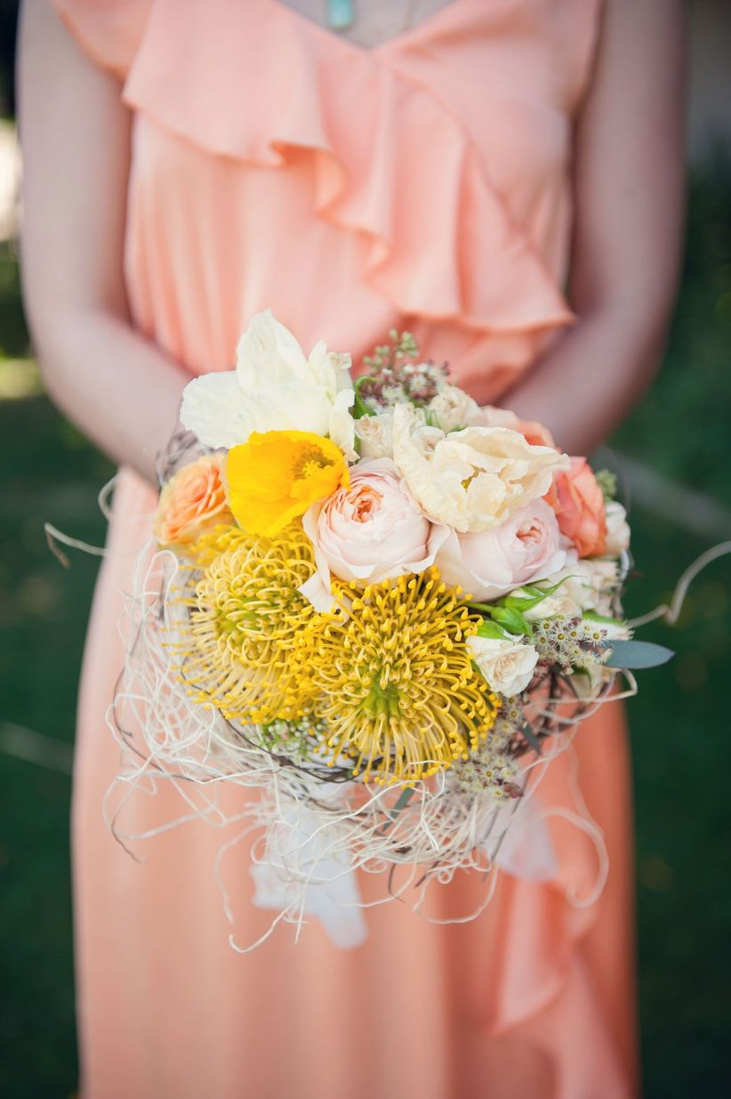 yellow pincushion protea bouquet - sun & sparrow photo & films