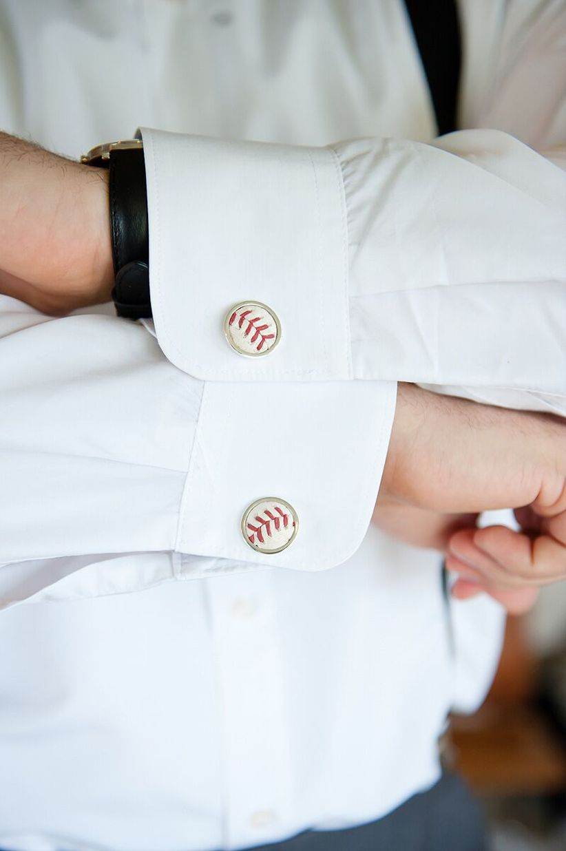 baseball cuff links on groom - ashley bartoletti photography