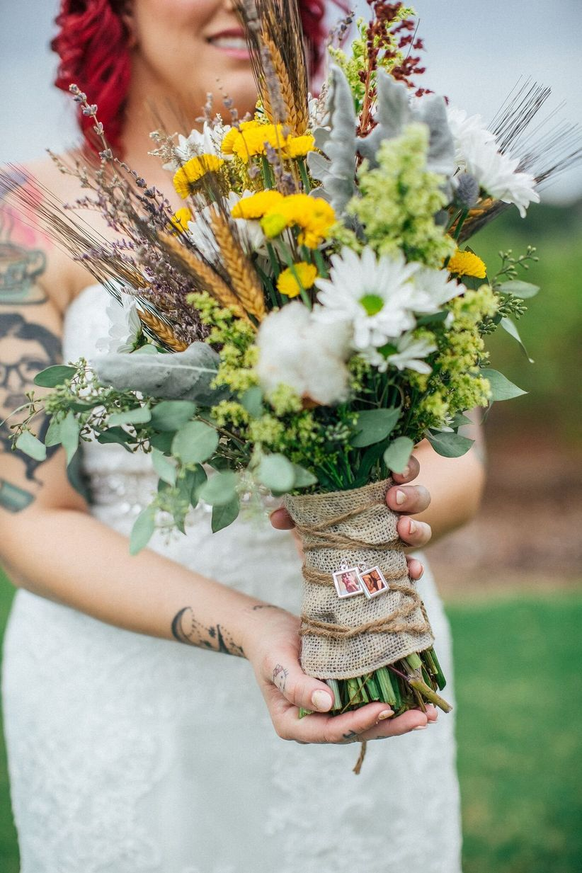 rustic yellow and green bouquet with burlap