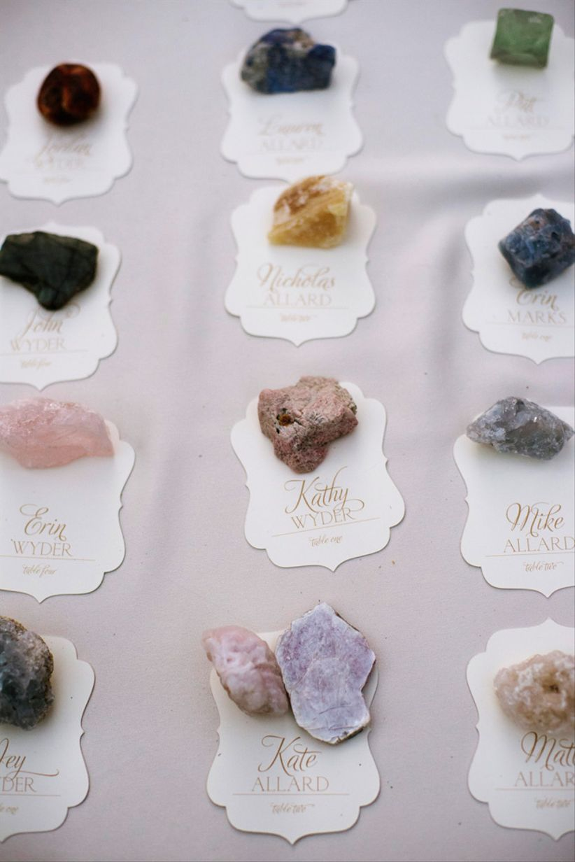 boho wedding escort cards with crystals and rocks