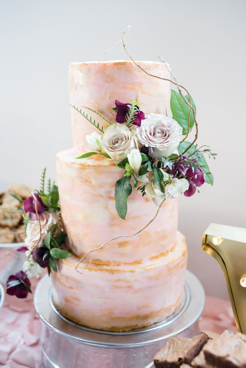 blush and gold marble cake - powers photography studios