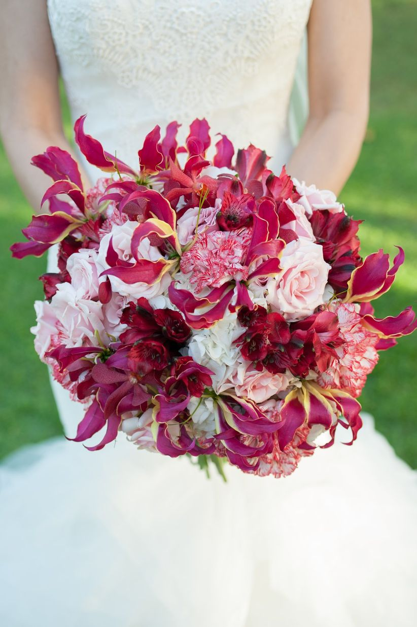 pink gloriosa lily and carnation bouquet - rachel robertson photography