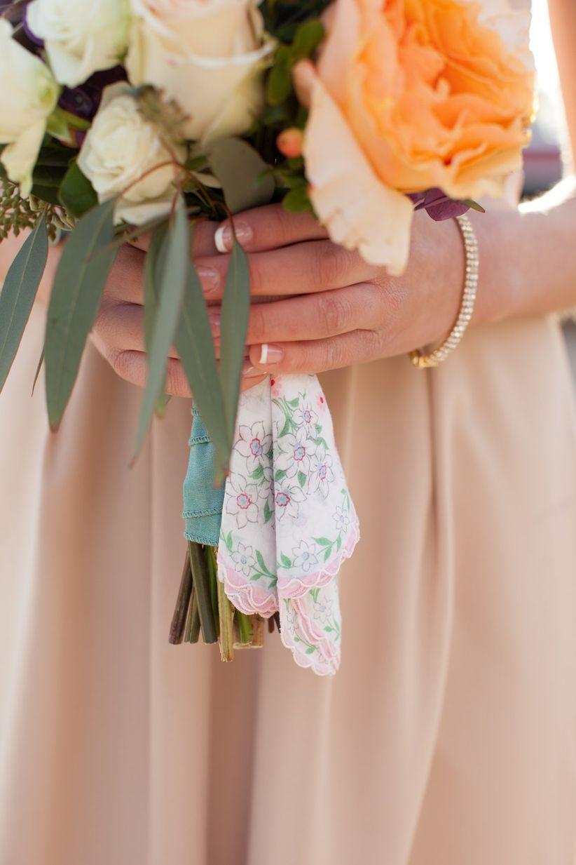 bridesmaid bouquet with vintage handkerchief