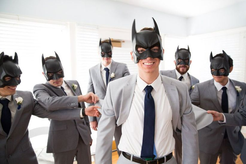 groom wearing batman mask - hundreds of moments photography llc