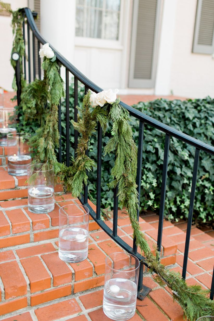 railing with greenery swag