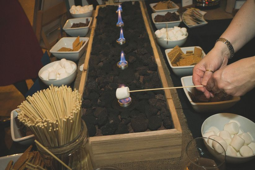 wedding reception build your own s'mores bar