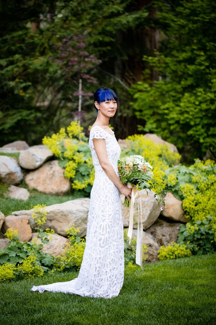 bridal portrait bride with blue bangs