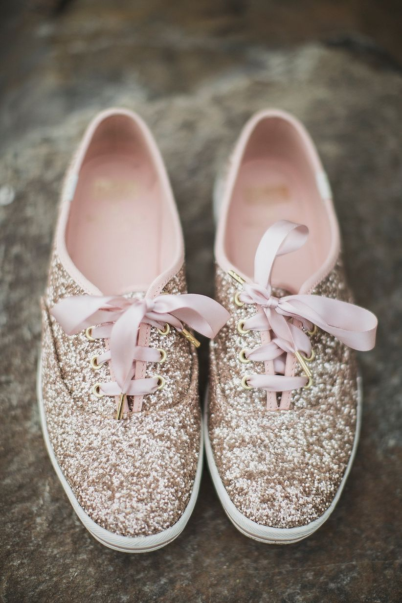 glittery rose gold Keds with pink silk strings