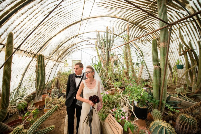 formal couple in greenhouse with cacti