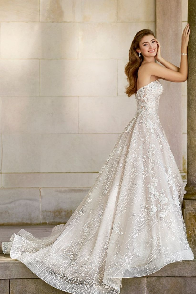 ball gown with floral appliques