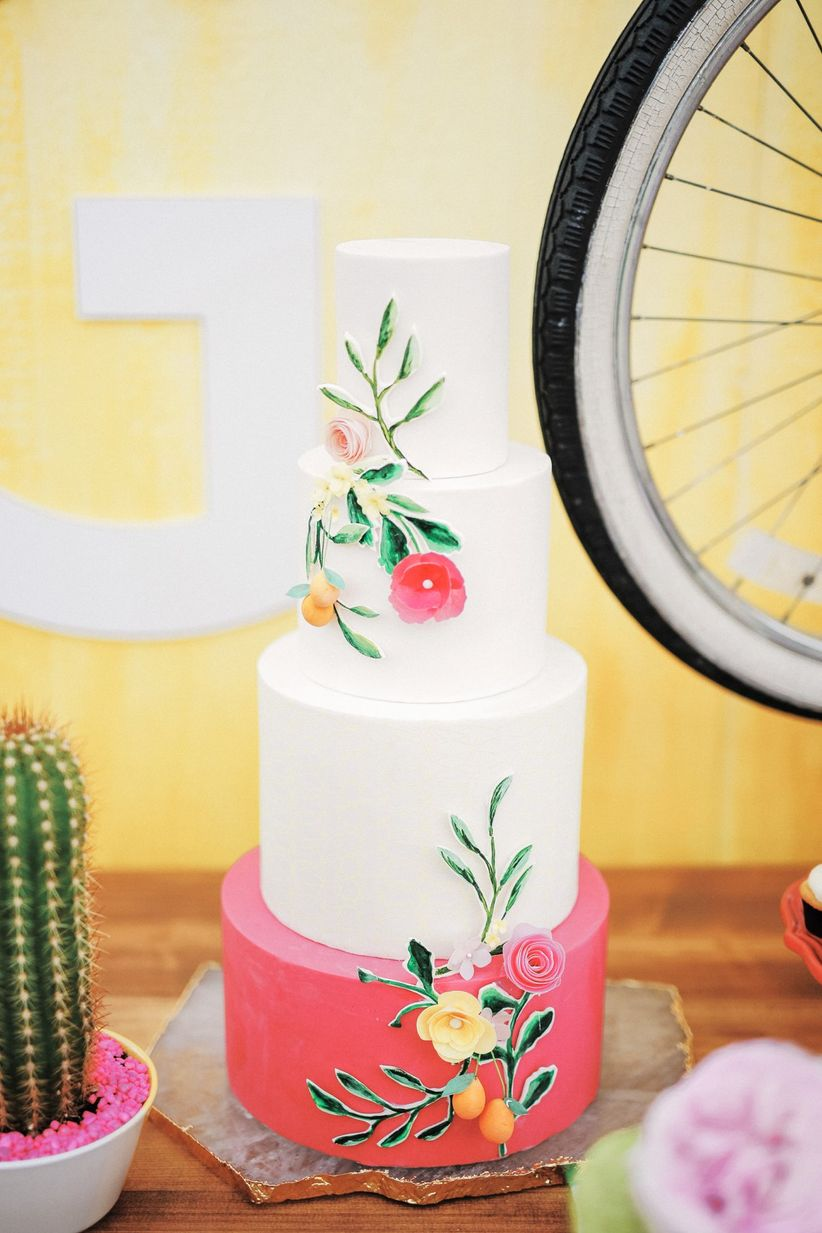 whimsical coral and pink wedding cake - gideon photography