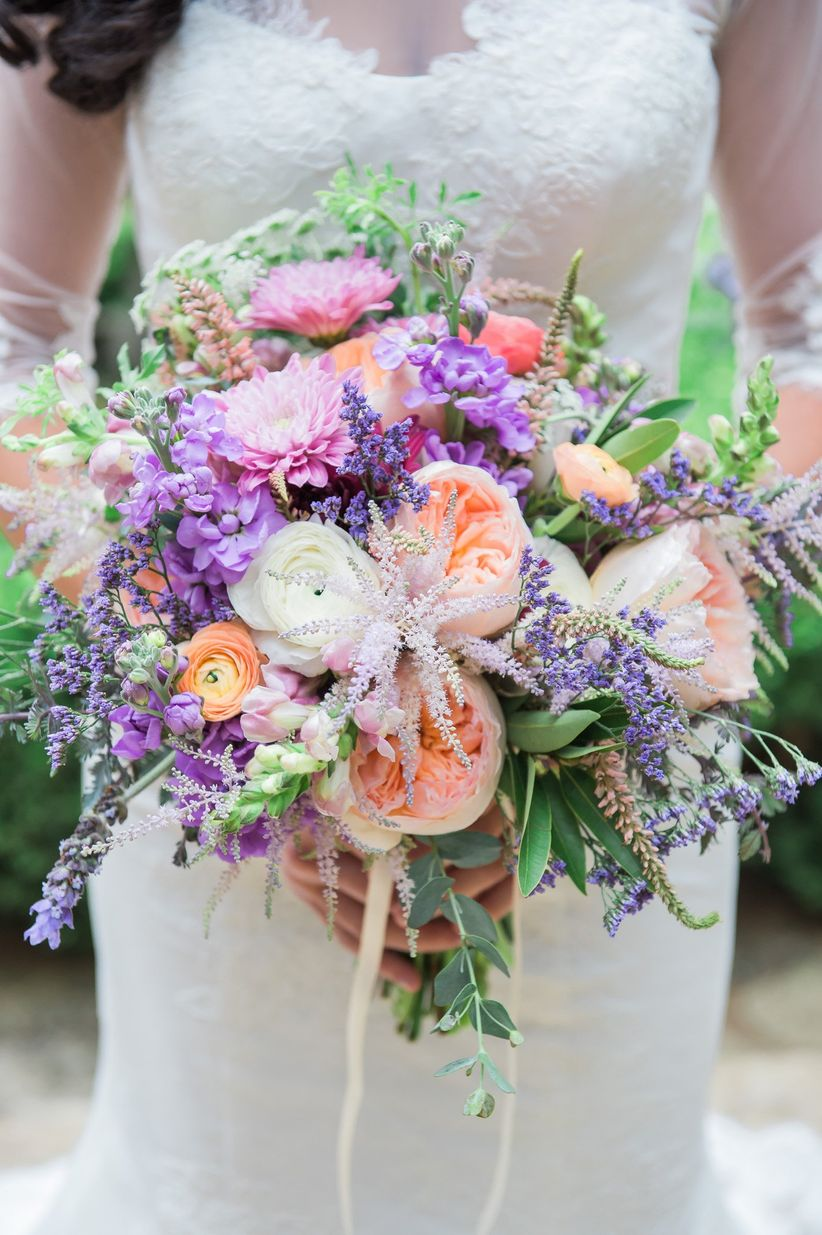 purple and peach garden rose bouquet