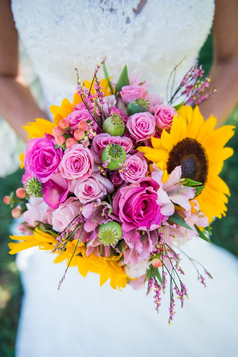 cheerful sunflower and poppy pod bouquet pink yellow green - tanna white photography