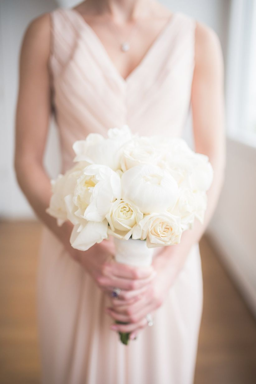classic white peony and rose bouquet