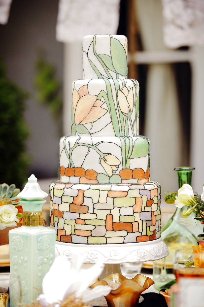 artistic handpainted spring wedding cake - gideon photography