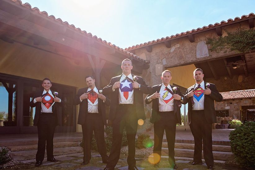 groomsmen wearing superhero t-shirts - ivonne carlton photography