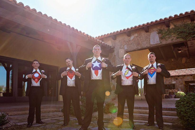 groomsmen wearing superhero t-shirts - ivonne carlton photography