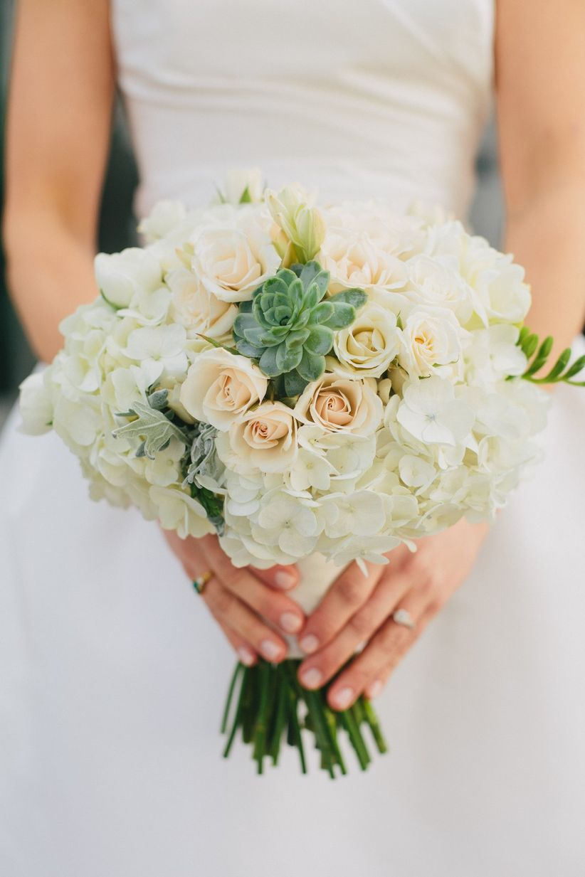 hydrangea bouquet with spray roses and succulents