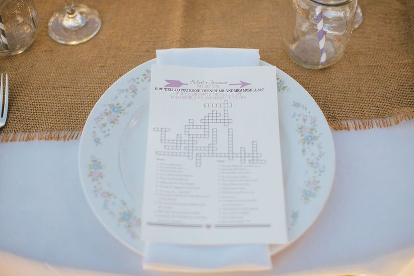 crossword puzzle place card - zelo photography